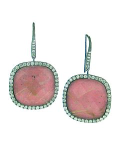 Pink Rhodonite and Diamond Earrings from Di Massima