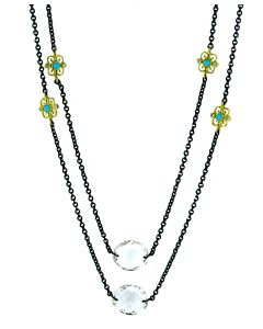 18k/St Silver & Turquoise Necklace