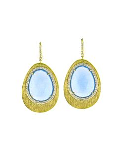 Blue Chalcedony & Diamond Earrings from Di Massima