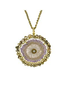 Agate Pendant with Double Diamond Frame from Di Massima