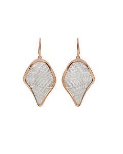 Two Tone St Silver and Mesh Earrings