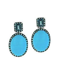 Ancora's Turquoise and Blue Topaz Earrings