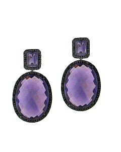 Amethyst & Black Sapphire Earrings from Ancora