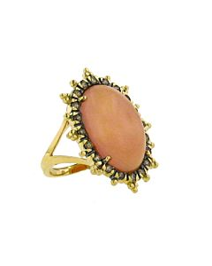 14k Cognac Diamond & Moonstone Ring