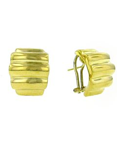 Estate Collection Italian Gold Ribbed Earrings