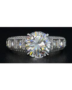 Blaze and Round Diamond Windows Ring