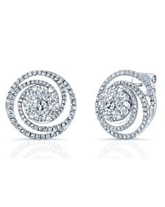 14k  Floret Swirl Diamond Earrings