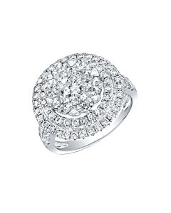 Large Diamond Floret Ring with Double Halo