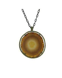 Di Massima's Agate and Yellow Sapphire Pendant