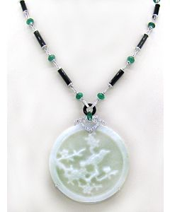 18K Jade, Emerald and Diamond Necklace