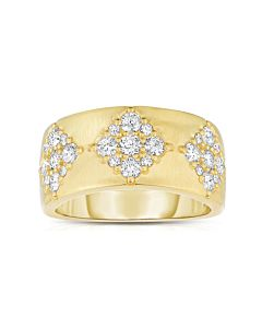 Wide Brushed Gold Diamond Band