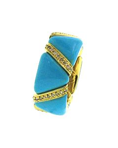 Cognac Diamond & Turquoise Enamel Stretch Ring