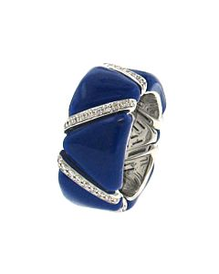 Blue Enamel & Diamond Stretch Ring