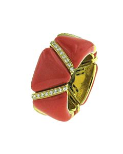 Diamond & Coral Enamel Stretch Ring
