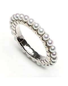White Gold Flexible Pearl Ring