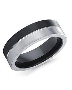 Men's Half & Half Cobalt Wedding Ring