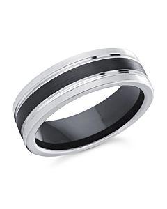Men's 7 mm B/W Cobalt Wedding Ring