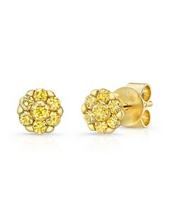 Yellow Diamond Cluster Earrings