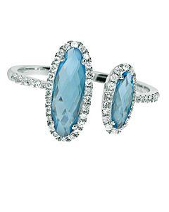 Blue Topaz & Diamond Cuff Ring