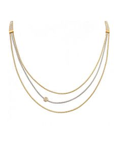 Two tone triple strand necklace
