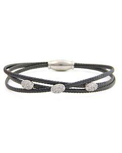 St Silver Black Luca Bracelet w/White Sapphires