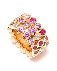 Multi-Pink Sapphire Flexible Ring