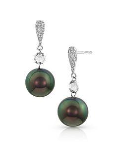 Tahitian Pearl and Rose Cut diamond earrings