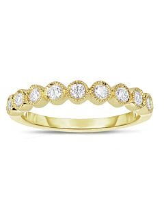 Yellow Gold Bezel Set Diamond Ring w/Milgrain