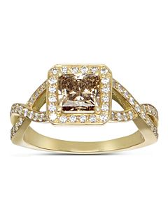 Classic Cognac & White Diamond Ring