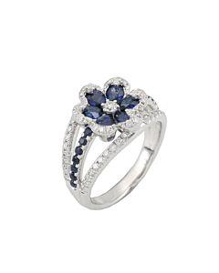 Sapphire and Diamond Flower Ring