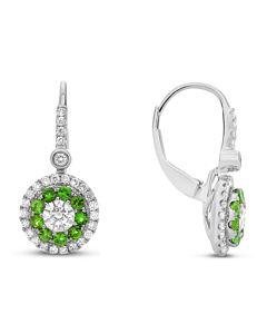 Emerald and Diamond Dangling Earrings