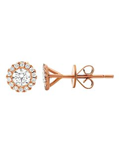 Rose Gold Diamond Halo Earrings