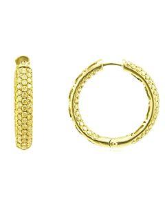 Pave Yellow Diamond Hoop Earrings
