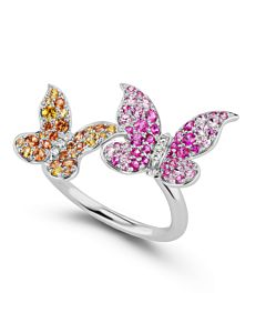 Multicolor Sapphire Butterfly Cuff Ring