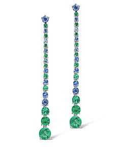 Dangling Emerald and Sapphire Earrings