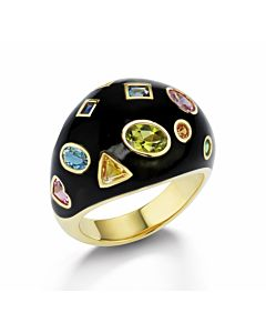 Enamel Ring with Diamonds and Gemstones