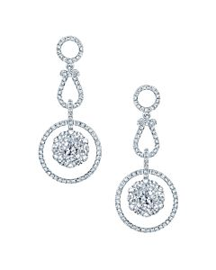 Dangling Diamond Cluster Earrings