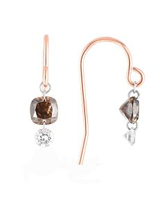 Cognac and White Pierced Diamond Earrings