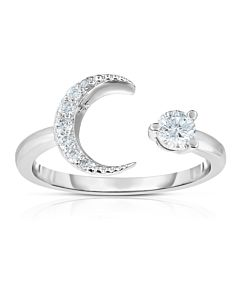 White Gold Moon and Star Ring