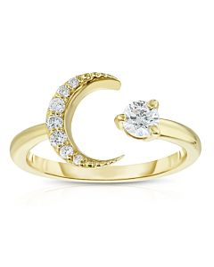 Yellow Gold Moon and Star Ring