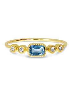Rectangular Blue Topaz Stacking Ring