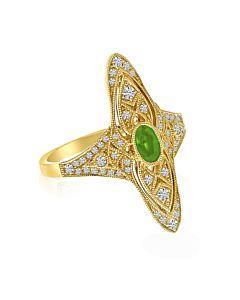 Emerald and Diamond Filigree Ring