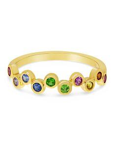 Rainbow Sapphire Bubble Ring