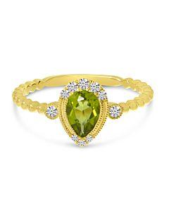 Peridot and Diamond Stacking Ring