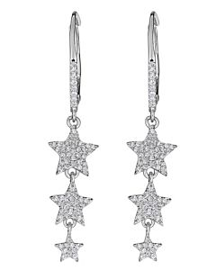 Triple Star Drop Earrings in White