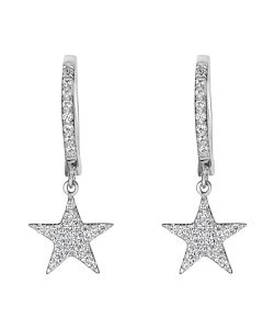 Diamond Star Dangle Earrings in White