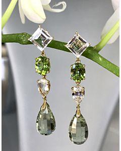 Prasiolite, Topaz and Peridot Earrings