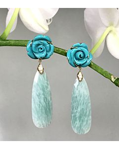 Carved Turquoise and Amazonite Earrings