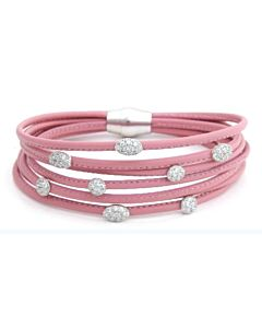 Pink Leather and White Sapphire Bracelet