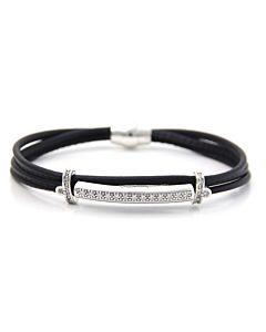 Triple Strand Black Leather Bracelet with White Sapphires